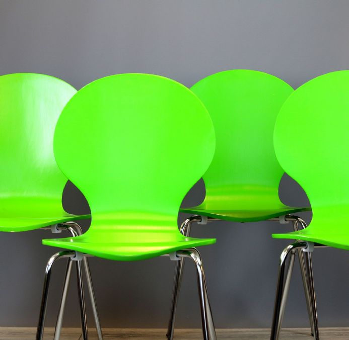 Set of 4 Curve Green  Dining Chairs